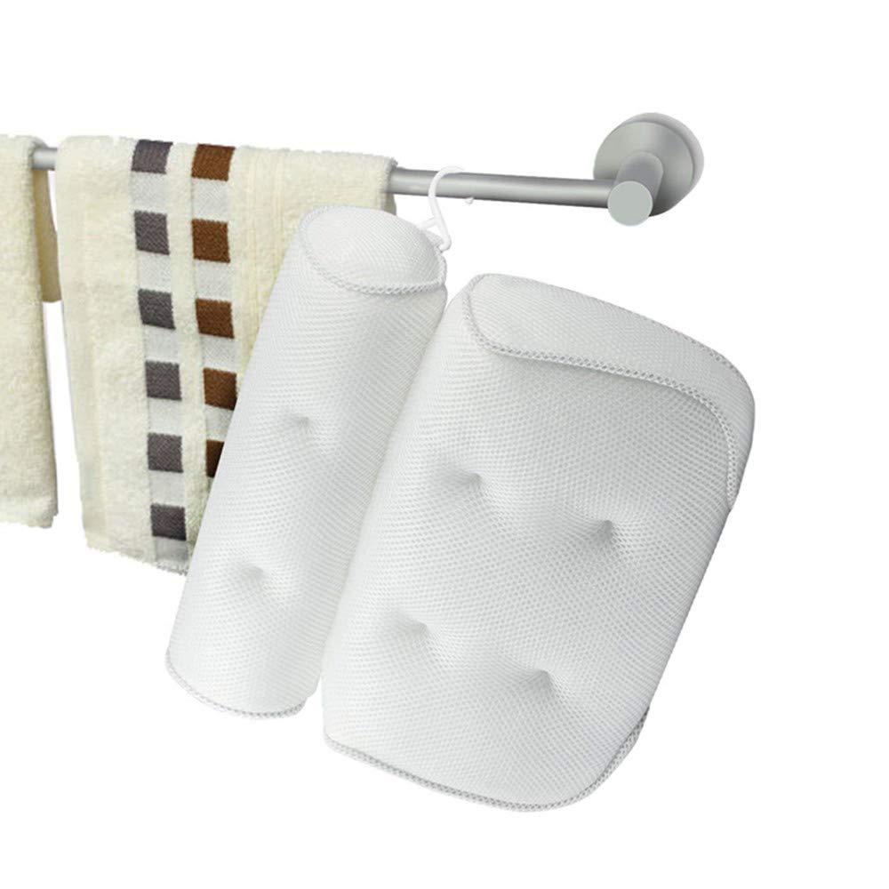 Cuscino per Vasca da Bagno Massimo Relax Bianco con 4 Ventose per Supporto ergonomico per Collo Meiyaa Spalle e Testa Morbido Cuscino 3D in Rete 35,6 x 33 cm