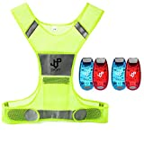 lighted vest for running - JQP Sports Running Vest and 4 LED Safety Light Set (4-Pack and 3 BONUSES) The Perfect Waterproof Running Light and Reflective Vest for Jogging Cycling Biking Strobe Light By (L/XL)