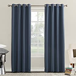 "Sun Zero Eliza Room Darkening Triple Lined Curtain Panel, 50"" x 84"", Indigo Blue"
