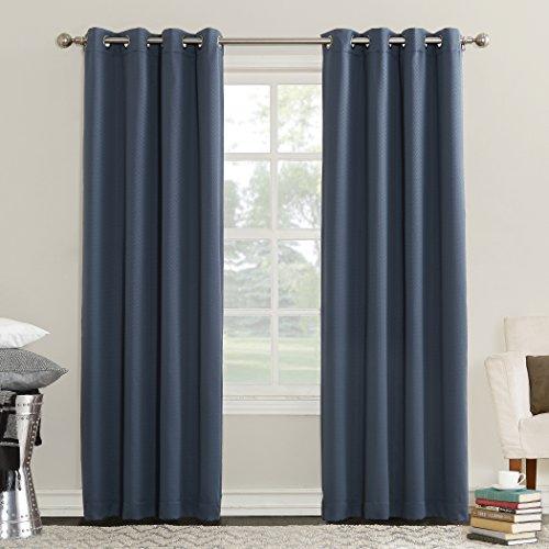 "Sun Zero Eliza Room Darkening Triple Lined Curtain Panel, 50"" x 84"", Indigo Blue"