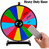 T-SIGN 24 Inch Heavy Duty Spinning Prize Wheel, Tabletop 14 Slots Color Prize Wheel Spinner with Dry Erase Marker and Eraser for Carnival and Trade Show, Win The Fortune Spin Game