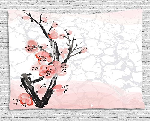Ambesonne Floral Tapestry by, Japanese Cherry Blossom Sakura Tree Branch Soft Pastel Watercolor Print, Wall Hanging for Bedroom Living Room Dorm, 80WX60L Inches, Coral Light Pink Grey (Cherry Light Pink Blossoms)