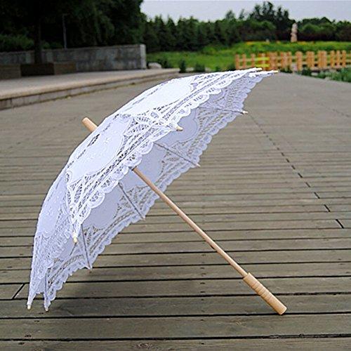 Escolourful Handmade Lace Umbrella Wedding Parasol for Bridal Bridesmaid Decoration by Escolourful (Image #3)