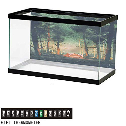 bybyhome Fish Tank Backdrop Happy Camper,Magical Night Forest,Aquarium Background,24