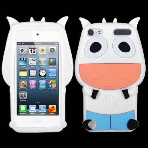 Fits Apple iPod Touch 5 (5th Generation) Soft Skin Case White Cow Pastel Skin (does NOT fit iPod Touch 1st, 2nd, 3rd or 4th - Ipod Touch Battery 1st Generation