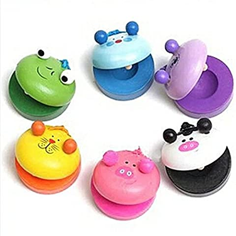 2pcs Wooden Animals Castanets Kids Musical Instrument Play Toys Round Character Castanets Pocket Funny Educational (Dead Drum Player)