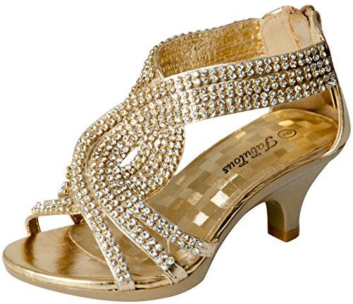 Dress Flat Heel - JJF Shoes Fabulous Angel-37K Little Girls Bling Rhinestone Platform Dress Heels Sandals,Gold,2