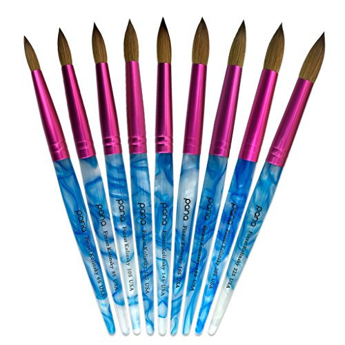 Pana USA Acrylic Nail Brush100% Pure Kolinsky Hair New Design Acrylic White~Swirl~Blue Handle with Pink Ferrule Round Shaped Style