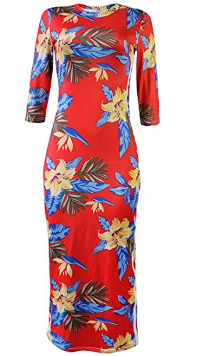 Crewneck Club Red Print Sports 3 4 Floral Women's Sexy Domple Sleeve Bodycon Dress 7qgxTvFqnY