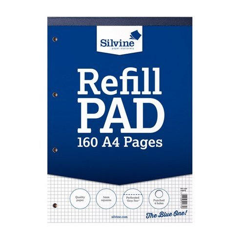 Silvine A4 Refill Pad With Squares (6 Pack of 80 Sheets) (One Size) (Squared)