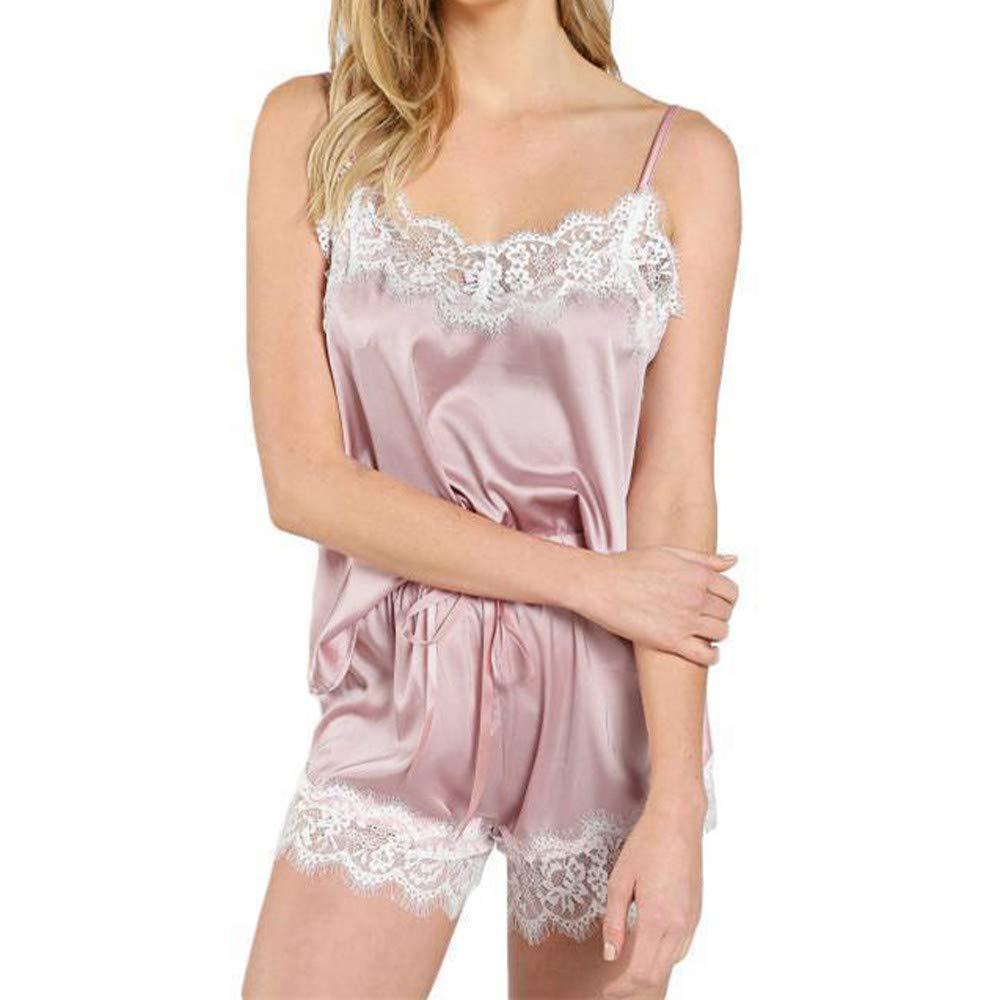 LIUguoo Women Sexy Lingerie,Lace Sleeveless Camisole Nightwear Satin Sleepwear Sets Pink