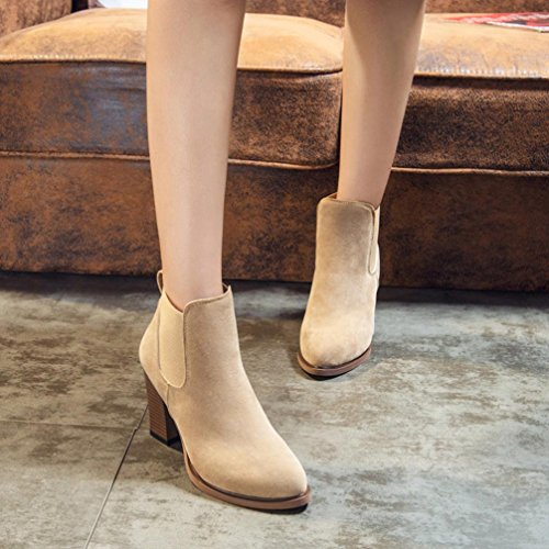 Knot Abkle Autumn Heel Booties Square Boots DEESEE Khaki Winter TM Ankle High Shoes UzxqvA