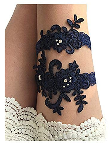YuRong Wedding Garter Set Beaded Lace Garter Set Bridal Lace Garter Wedding Gift G01 -
