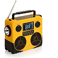 Ivation 7-in-1 Bluetooth and Radio Speaker, Solar and Dynamo Powered, Charges Smartphone, Emergency Signal and Weather Radio, Flashlight, Date, Time, Alarm, and Temparature