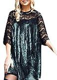 ouxiuli Women Velvet Pleat Lace Stitching Sleeve Dress Sexy Mini Dress Green S