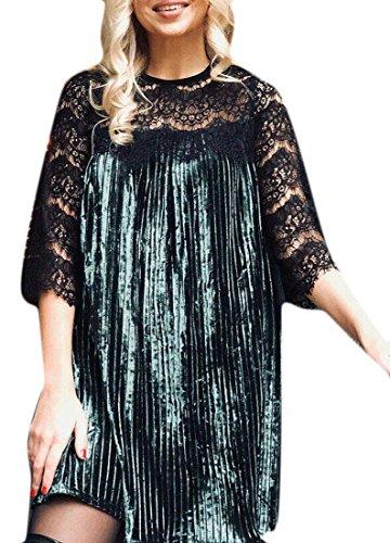 Mini Women Long Sleeve Swing Round Jaycargogo Neck Pleat Velvet Green Dress tx7846