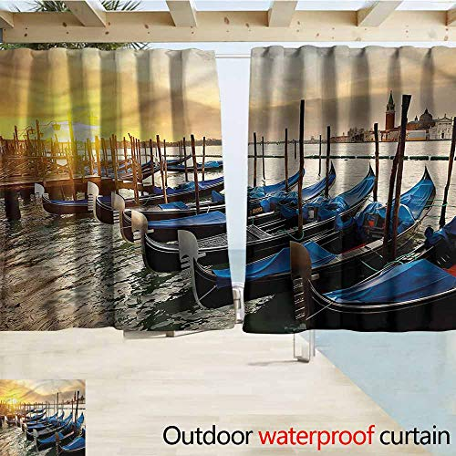 MaryMunger Outdoor Patio Curtains Venice Gondolas Line on Water Rod Pocket Curtain Panels W55x63L Inches