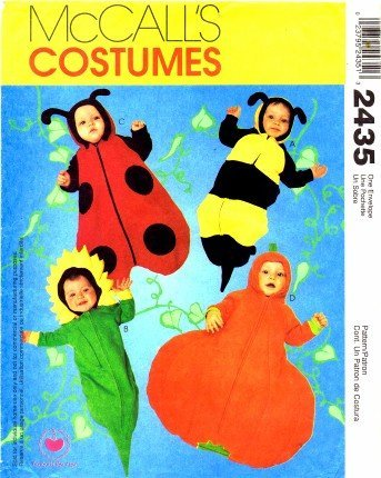 McCall's 2435 Sewing Pattern Infants Baby Costumes Ladybug Bee Pumpkin Sunflower
