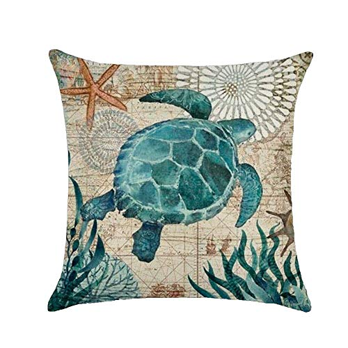 (wintefei Throw Pillow Case, 18 inch Vintage Sea Shell Whale Turtle Bed Sofa Cushion Cover)