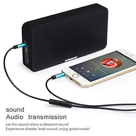 Marrone TOOGOO 3.5mm Jack Audio Cable 1.2m Stereo Aux Plug Cavi con Microfono Vivavoce Vivavoce in-Line Telecomando per Auto Telefono