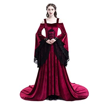 83a2796a891 Fanessy Halloween Médiéval Femme Déguisement Noir Rouge Robe de Princesse  Reine Costume de Hallowen Cosplay en