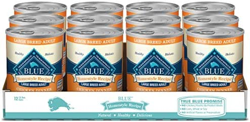 Blue Buffalo Homestyle Recipe Natural Adult Large Breed Wet Dog Food, Chicken 12.5-oz can Pack of 12