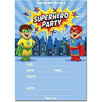 amazon com superhero birthday invitations with envelopes 15 count