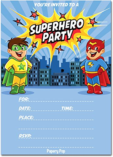 Superhero Birthday Invitations with Envelopes (15 Count) - Kids Birthday Party Invitations for Boys or -