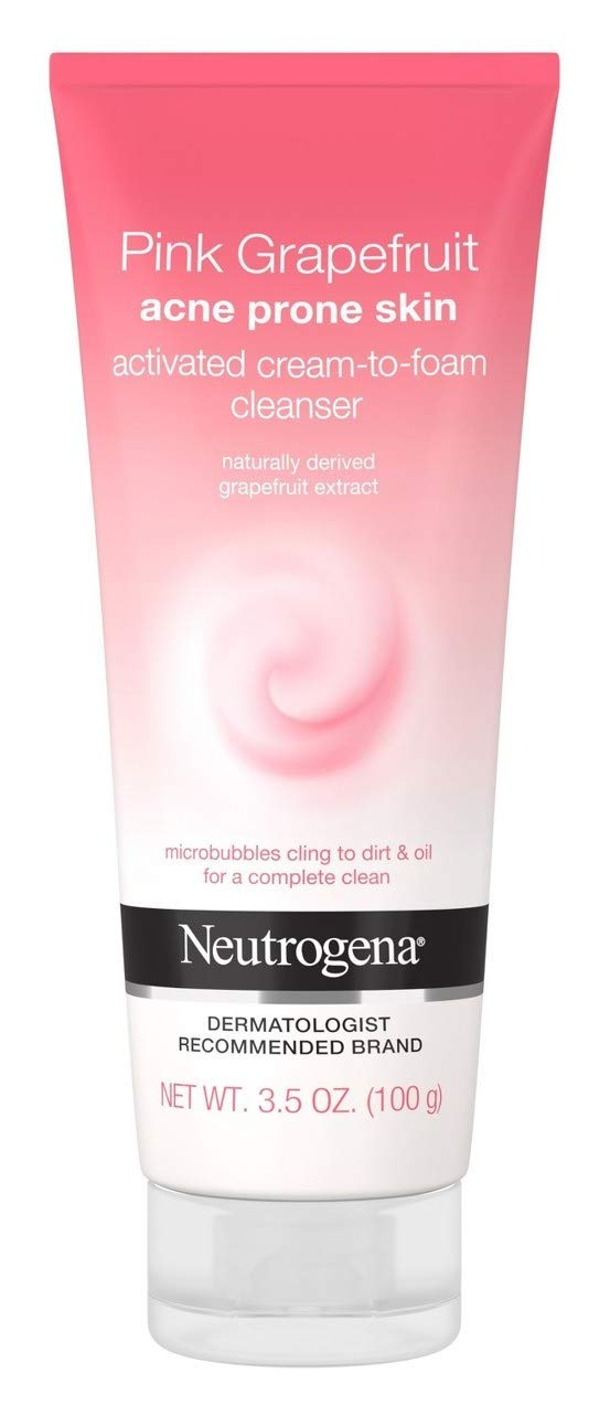 Neutrogena Pink Grapefruit Activated Cream-to-Foam Cleanser Acne Prone Skin Grapefruit Extract, Acne Face Wash, 3.5 oz