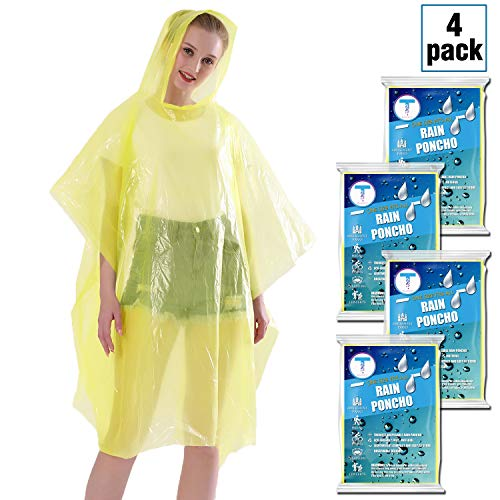Disposable Rain Ponchos for Adults by(6 Pack) Including Drawstring Hood and Premium Quality 50% Thicker Material 100% Waterproof Emergency Rain Ponchos for Kids-Clear White (Yellow 4 Pack) ()