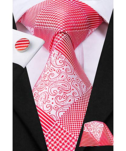 Dubulle Coral Pink Paisely Ties for Men Silk Neckie and Hankerchief Cufflinks Set