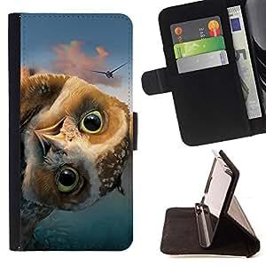 BullDog Case - FOR/Apple Iphone 6 / - / FUNNY - FRIENDLY OWL /- Monedero de cuero de la PU Llevar cubierta de la caja con el ID Credit Card Slots Flip funda de cuer