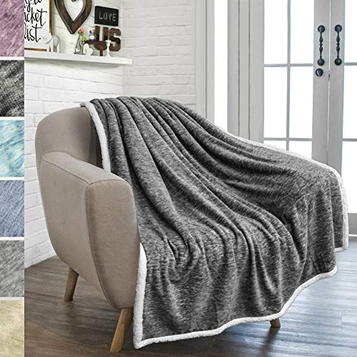 PAVILIA Premium Gray Sherpa Melange Throw Blanket for Couch, Sofa by Soft, Fluffy, Plush, Warm, Cozy, Fuzzy Lightweight Microfiber, Luxury Modern Reversible TV Blanket (50 x 60 Inches, Charcoal)