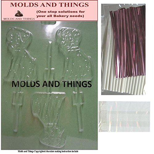 Molds and Things DALMATION Lolly Chocolate Candy Mold With © Molding Instruction+set of 25 Lollipop Packaging Kit (Dalmation Mold Chocolate)