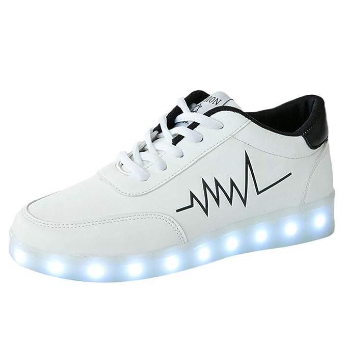 Bestow Zapatos de Mujer, Carga por USB, Modelos de Pareja Ocasionales, Zapatos Luminosos
