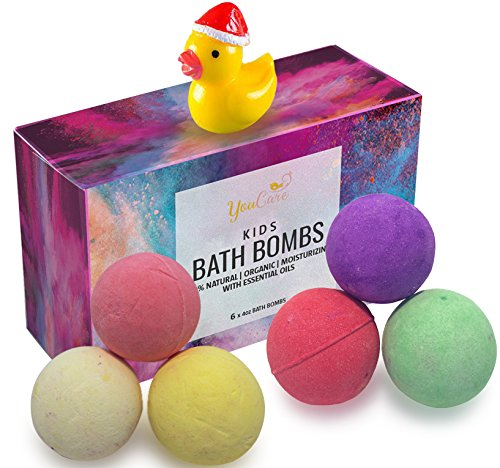 YouCare Bath Bombs Kit for Kids with Surprise Toys Inside | 6 LARGE Fizzies | Organic, Natural & Vegan | Special Gift Set For Boys & Girls | Coconut Butter & Essential Oils | Kid Safe, Gender Neutral