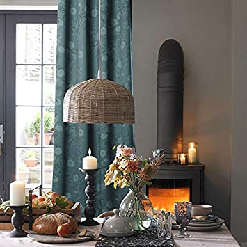 KGORGE Room Darkening Curtains, Vintage Rose Flower with Leaves Print Pattern to Refresh Complete Appearance of Home, W 52 in x L 84 in, 2 Panels, Mallard Green