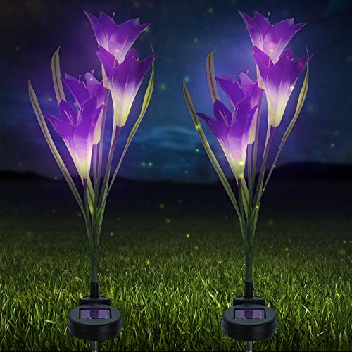 Sorbus LED Flower Light Lily Stakes, 2 Pack Solar Multi-Color Changing 8 LED Outdoor Garden Flowers,Lawn, Garden, Patio, Night Lighting, Path Walkway, Gravestone, Wedding (2 Purple Color Changing) (Solar Lights Pots In Flower)