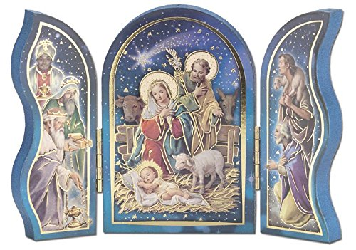 Nativity Christmas Scene With Lamb Triptych Gold Color Embossed 5x3.5