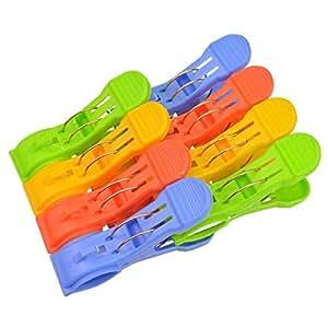 Marrywindix 8 Pcs Large Size Durable Plastic Clips Large Beach Towel Clips Quilt Clip Clothes Hanger (5.1'' x 2.8'')