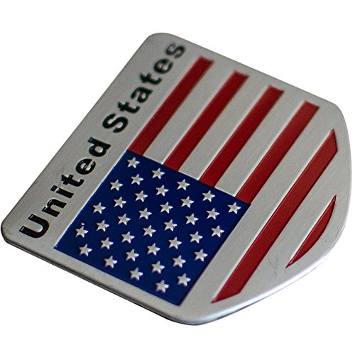 American US Flag Decal Sticker   Emblem Made From Aluminum Alloy perfect for any vehicle, truck, car, motorcycle, RV, scooter, or SUV [Shield Shape / - Of Shape Shield