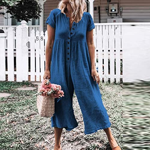 Womens Outfit Loose Casual Short Sleeve Cotton Linen Jumpsuits Button Down Rompers Bib Pants Lightweight Soft Palazzo Cropped Pants Summer Lounge Playsuit