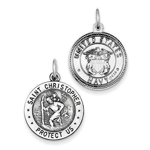Sterling Silver Antiqued Reversible St. Christopher US Navy Medal Charm Pendant Length 25mm (Sterling Silver Navy Charms)