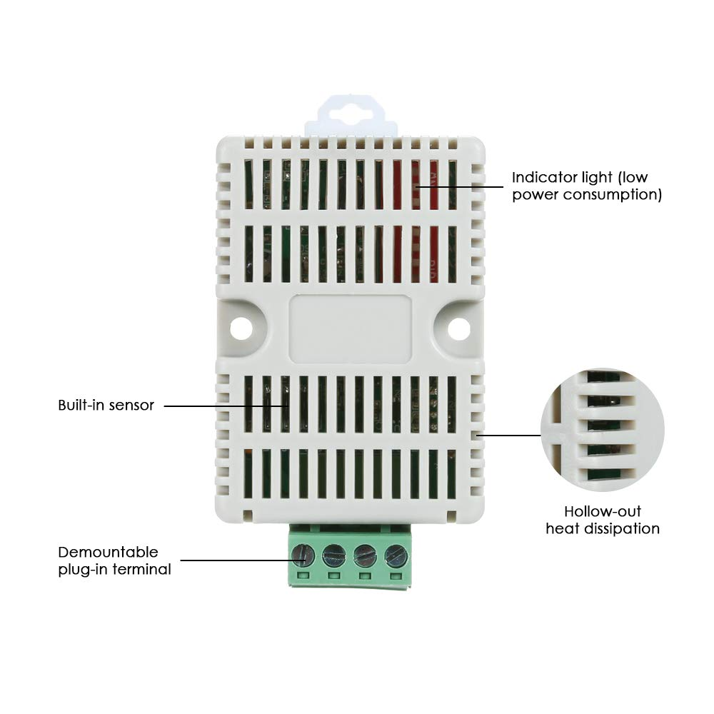RS485 Temperature Humidity Transmitter RS485 Modbus-TRU Temperature Sensor Temperature-Humidity Sensors Temperature and Humidity Monitoring KKmoon Temperature Sensor