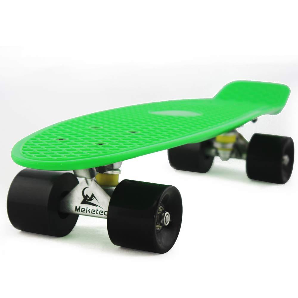 MEKETEC Skateboards Youth 22 inch Mini Cruiser Girl Beginner Skateboard for Kids Boys Children Toddler Skateboard Teenagers Adults Paw Patrol (Green Black)