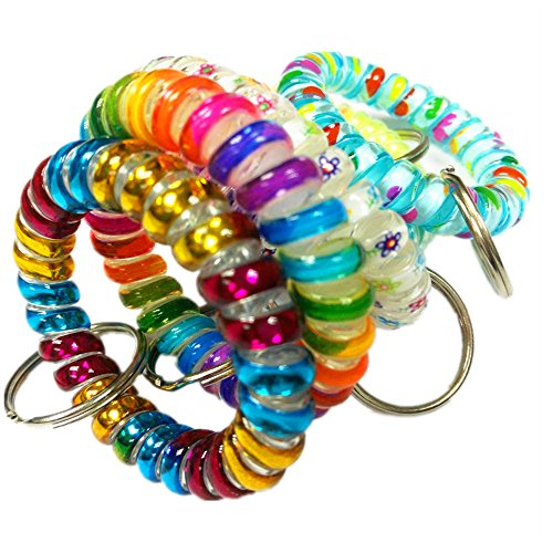Bright Color Stretch Flexible Elastic Plastic Spring Spiral Wrist Coil Cord Wristband Keychain Key Chain Ring (10)