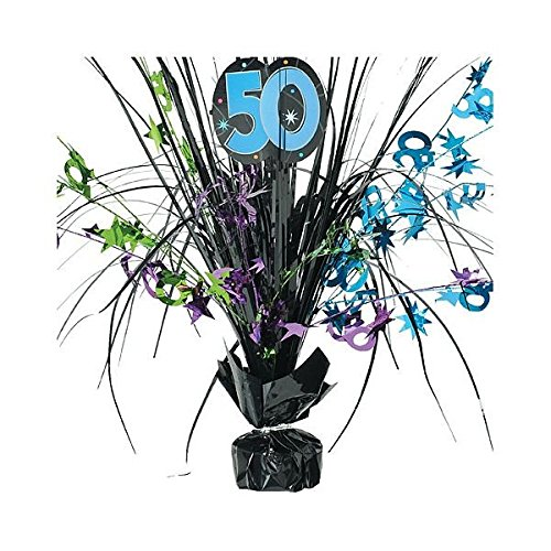 Amscan The Party Continuous 50th Birthday Party Spray Table Centerpiece Decoration, 1 Piece, Multi, 15