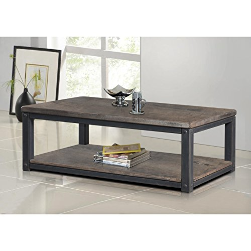 Rustic Coffee Table Industrial Entertainment Center Wood TV Stand Vintage Media, Living Room Furniture, Hallway or Foyer Table ()