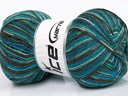 (Bamboo Sock Yarn - Turquoise, Blue, Grey Self-Patterning Superwash Merino Wool, Bamboo, Nylon Blend Sock Yarn - 100 Gram)