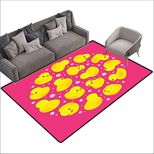 Rug Baby Betty Boop - Floor Bath Rug Rubber Duck Fun Baby Duckies Circle Artsy Pattern Kids Bath Toys Bubbles Animal Print Quick and Easy to Clean W6' x L7'10 Pink and Yellow